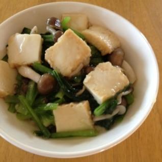 厚揚げ&小松菜&しめじの炒め煮(中華風)