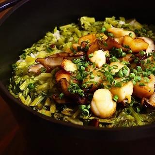 菜の花の炊き込みご飯 ホタテと椎茸のソテー