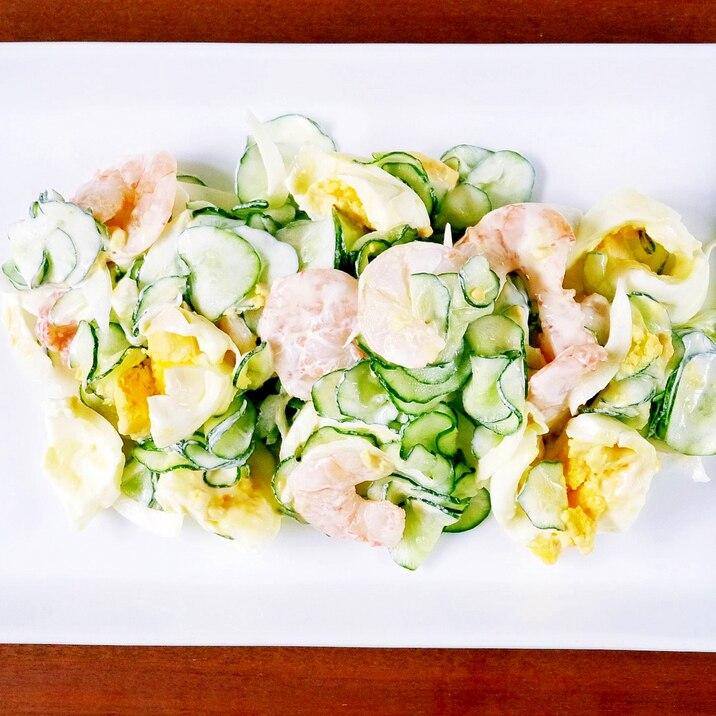 カフェ風!きゅうりと茹で卵の簡単朝サラダ