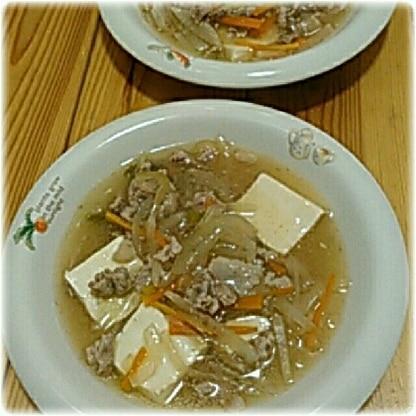 挽き肉がなくてお肉を細かく切って作りました。とろとろのあんがお豆腐に絡んでとっても美味しかったです♡ ご馳走さま(*^^*)