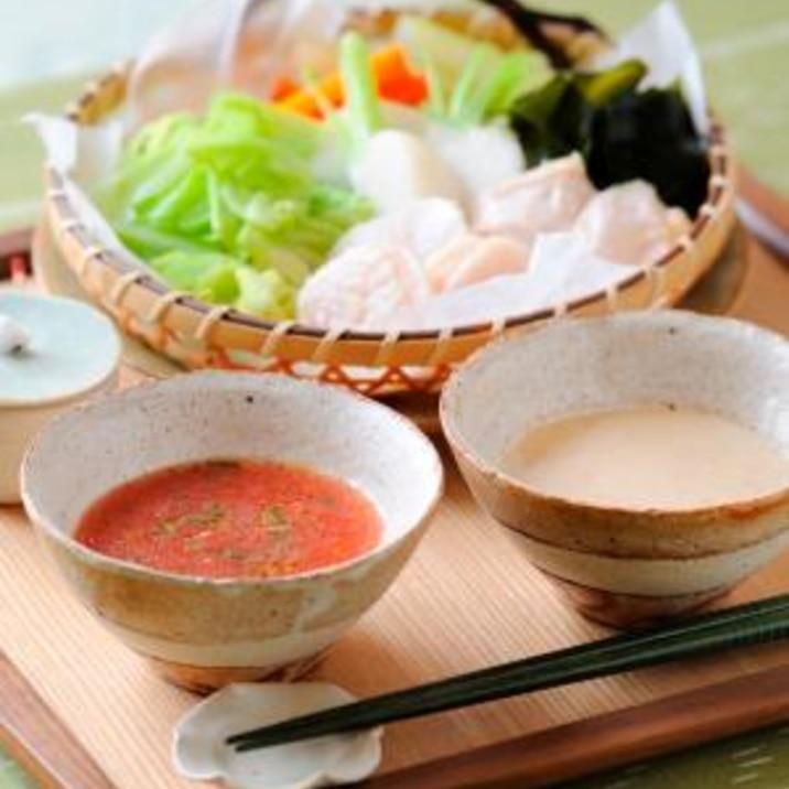 ヘルシー蒸しザル~トマトポン酢と豆乳ごまダレ~