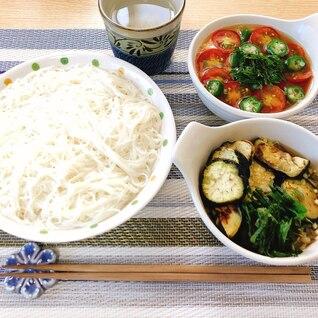 夏野菜欲ばり素麺(潰瘍性大腸炎◎)