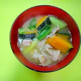 かぼちゃと豚肉小松菜の味噌汁