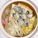 牡蠣、真鱈、しらたき、の鍋