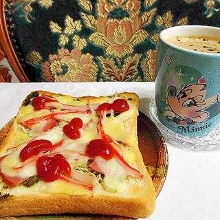 ミックスピザトーストとコーヒー