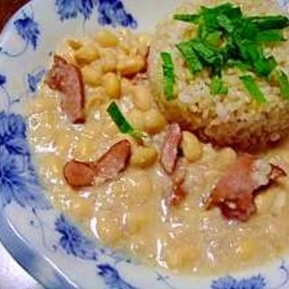 無水鍋で作る ベーコンのフェジョン(大豆)