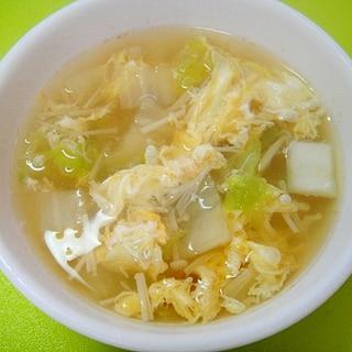 白菜とえのきの和風たまごスープ