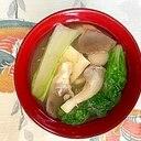 白菜、木綿豆腐、あわび茸のお味噌汁