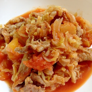 シリコンスチーマーで☆豚肉とキャベツのトマト煮