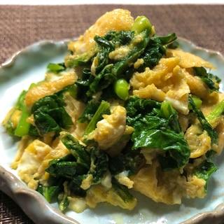 小松菜と油揚げの卵炒め