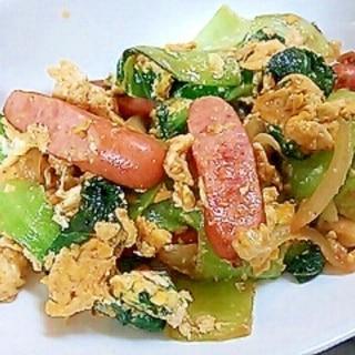 チンゲン菜とウインナーの卵炒め
