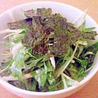 ラー油が隠し味♪簡単♪豆腐の水菜サラダ