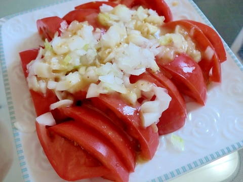 新玉ねぎとごま油のドレッシング♪冷やしトマトのせ