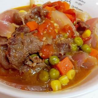 冷凍Mベジで簡単(^^)牛肉とトマトのビール煮♪