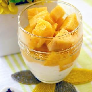 爽やか♪水切りヨーグルトと☆パイナップルのデザート