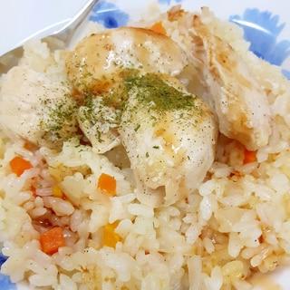 炊飯器で(^^)バターピラフwithチキンソテー♪