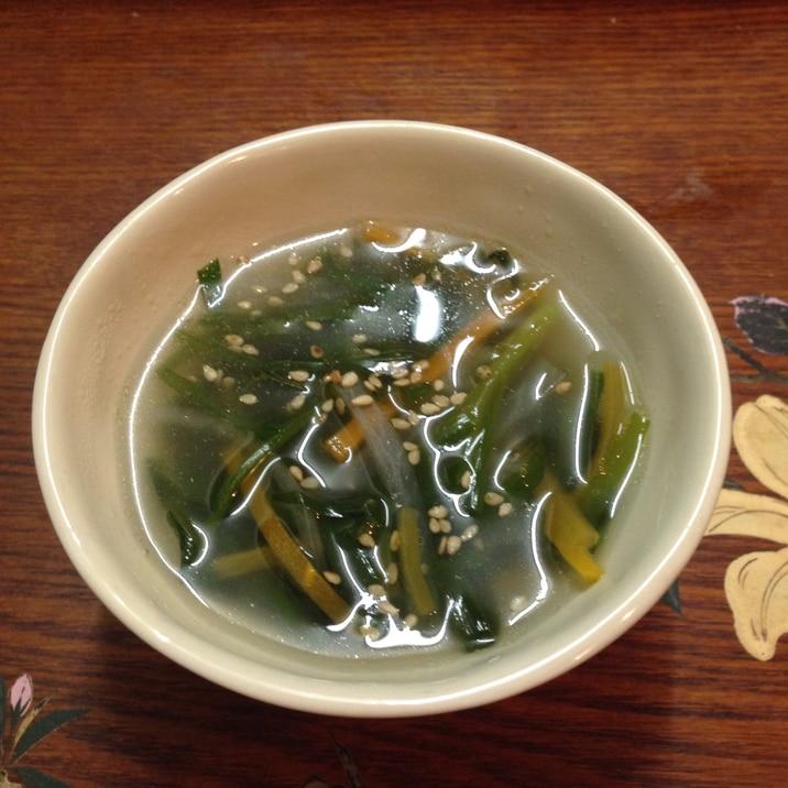 ニラたっぷり簡単中華スープ