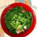 にら、木綿豆腐、ブナシメジ、クレソンのお味噌汁