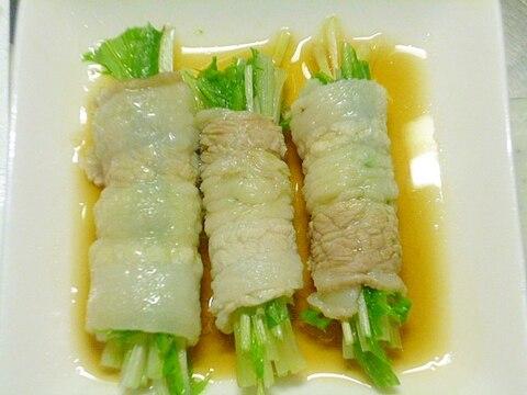 レンジで簡単♪野菜を美味しく♪豚バラ肉の水菜巻き