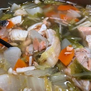 塩鮭のアラで!鮭の潮汁