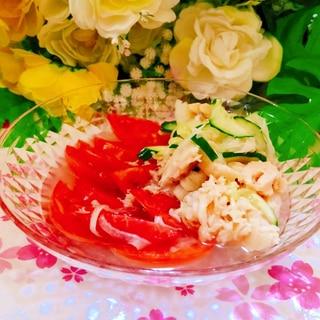 簡単酢でトマト・玉葱・サラダチキンのさっぱりサラダ