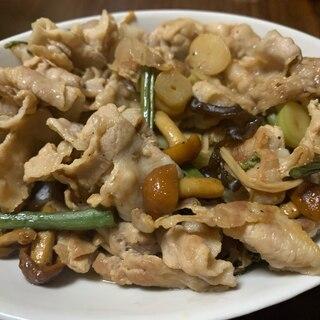 豚肉と山菜ミックスのポン酢炒め