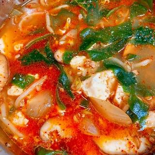 唐辛子にんにくで★スンドゥブ風スープ