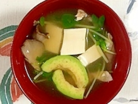 豆苗、塩とうふ、あわび茸、アボガドのお味噌汁