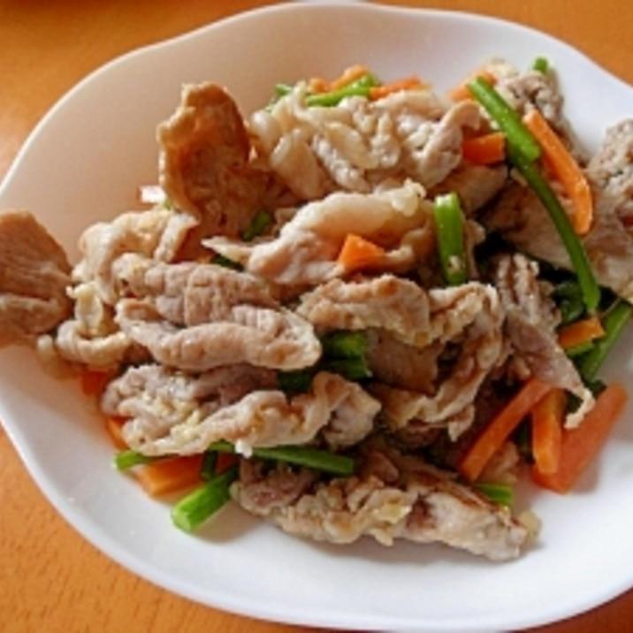 豚肉とニンニクの芽の塩麹炒め