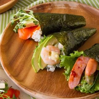 3種の手巻き寿司 Temaki Sushi