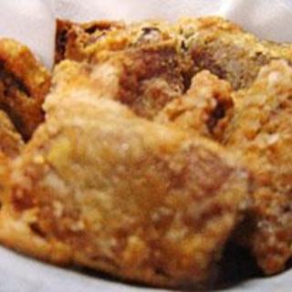 生姜たっぷり、カツオ腹皮の唐揚げ