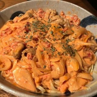 うちのダンナレシピ★鶏もも肉のトマトクリームパスタ