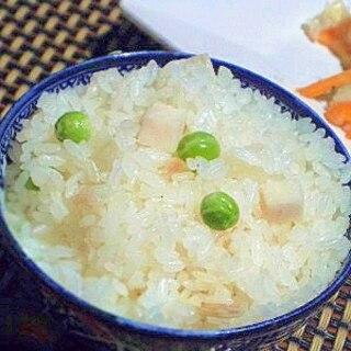 炊飯器で簡単、筍と豆ご飯