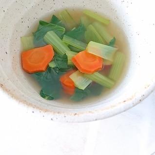 小松菜と人参のコンソメスープ