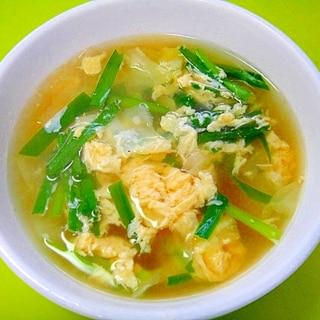 キャベツとニラの卵スープ