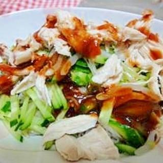 野菜たっぷり♪ムネ肉のビビン麺