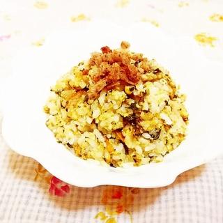 パン粉のせ♪緑茶風味人参の卵炒飯