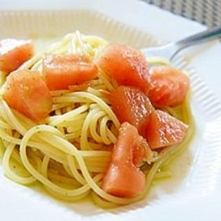 旬のスイカで、スイカと大葉の冷製スパゲッティーニ
