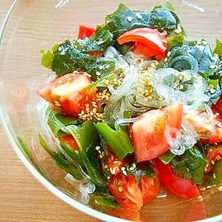 トマト・ワカメ・春雨のサラダ♪