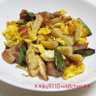 簡単!鶏肉・絹さや・揚げの卵炒め