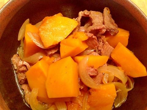 かぼちゃとローストビーフの残りで簡単煮物