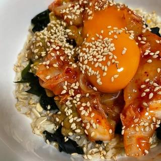 オートミールの納豆キムチ飯