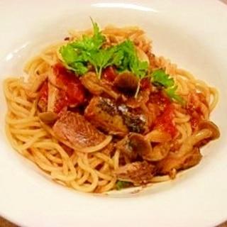 減塩☆サンマ缶のスパゲッティ