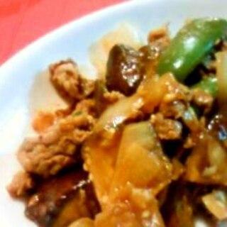 牛肉となすピーのピリ辛炒め
