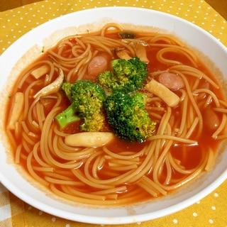 おなべひとつで簡単に!トマトスープスパゲティ♪