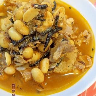 ピリ辛★トマト味噌no大豆とひじきのポーク煮