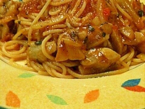 超簡単 でもプロの味 チキンのトマトソースパスタ