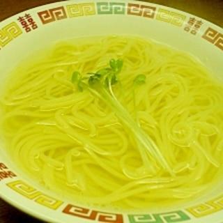 スパゲティ麺で塩ラーメン