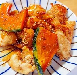 鶏むね肉とかぼちゃの甘辛焼き