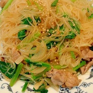 小松菜と豚肉の和風焼きビーフン